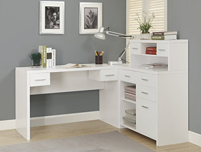 "Monarch Specialties Hollow-Core ""L"" Shaped Home Office Desk, White"