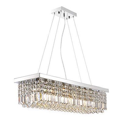 "Moooni Rectangular Clear Crystal Chandelier Lighting Modern Dining Room Pendant Lighting Polished Chrome Finish L47.3"" x W9.8"" x H9.8"""