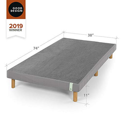 Zinus 11 Inch Quick Snap Standing Mattress Foundation/Low Profile Platform Bed/No Box Spring Needed, Gray, Twin