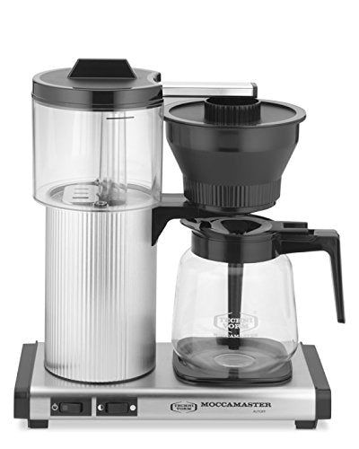 Moccamaster 39730 15-Cup Coffee Brewer with Glass Carafe, Brushed Silver