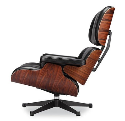 Eames Lounge Chair and Ottoman Black 100% Italian Genuine Full Grain Leather with Rosewood/Palisander Wood Finish True to Original Design Best Seller Eames Lounger Everyone Loves