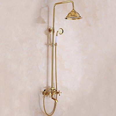 WAWZJ Bathroom Shower Set Multi Function Shower Shower Antique All Copper Shower Suit Multifunctional Shower with Gold Plated Shower.
