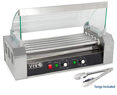VIVO Electric 12 Hot Dog and 5 Roller Grill Warmer | Cooker Machine with Cover (HOTDG-V205)