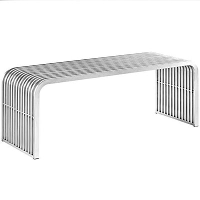 Modway EEI-2102-SLV Pipe Stainless Steel Bench, Silver