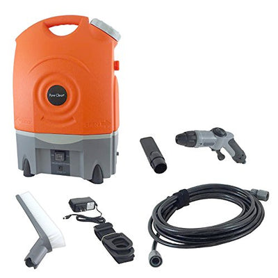 Pure Clean Outdoor Portable Spray Pressure Washer Cleaner System, Built in Rechargeable Battery, Easy Transport Wheels, Vehicle Car Plug Included