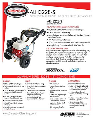 SIMPSON Cleaning ALH3228-S 3200 PSI at 2.8 GPM Gas Pressure Washer Powered by HONDA with CAT Triplex Pump