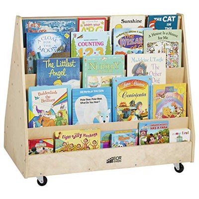 ECR4Kids Birch Hardwood Double-Sided Book Display Stand for Kids, 10 Shelves, Natural