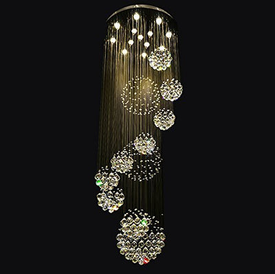 "Siljoy W31.5"" X H110"" Modern Crystal Chandelier Rain Drop Spiral Staircase Lighting with 11 Crystal Sphere Ceiling Light Fixture"