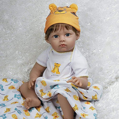 Paradise Galleries Reborn Baby Boy Doll 8-Piece Gift Set, Lions Tigers & Bears, 20 inch Lifelike Doll in GentleTouch Vinyl & Weighted Body, in 3 Different Outfits, for Kids 6+