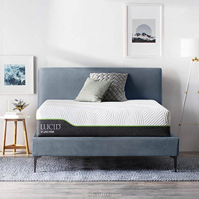 LUCID 12 Inch Queen Latex Hybrid Mattress - Memory Foam - Responsive Latex Layer - Premium Steel Coils - Medium Firm Feel - Temperature Neutral