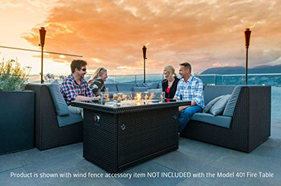 Outland Fire Table, Aluminum Frame Propane Fire Pit Table w/Black Tempered Glass Tabletop Resin Wicker Panels & Arctic Ice Glass Rocks, 35,000 BTU Auto-ignition Tabletop Resin Wicker Panels & Arctic Ice Glass Rocks, 35,000 BTU Auto-ignition
