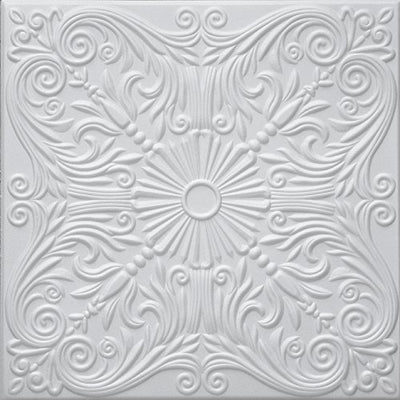 RM-39 Polystyrene (Styrofoam) Decorative Ceiling Tile to cover popcorn (Pack of 96 white tiles). Easy paintable. Easy DIY glue up application on most flat ceiling surfaces or over popcorn. Elegant Classic Design.