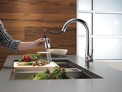 Delta Faucet 9113-DST Essa Single Handle Pull-Down Kitchen Faucet with Magnatite Docking and Touch-Clean Spray Head, Chrome