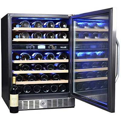 NewAir AWR-460DB Dual Zone 46 Bottle Wine Cooler, Stainless Steel