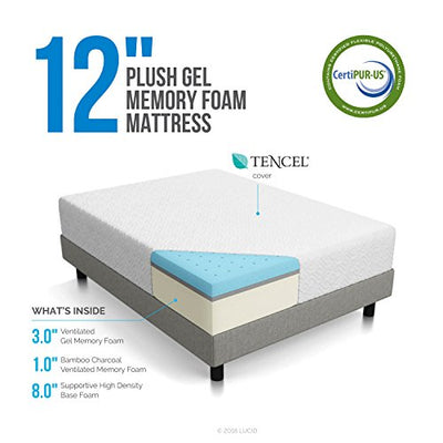 LUCID 12 Inch Gel Memory Foam Mattress - Triple-Layer - 4 Pound Density Ventilated Gel Foam - CertiPUR-US Certified - 25-Year Warranty - Queen