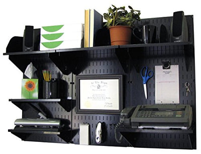 Wall Control 10-OFC-300 BB Office Wall Mount Desk Storage and Organization Kit, Black