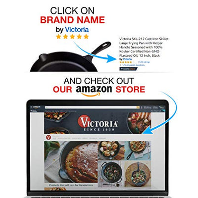 Victoria SKL-212 Cast Iron Skillet Large Frying Pan with Helper Handle Seasoned with 100% Kosher Certified Non-GMO Flaxseed Oil, 12 Inch, Black