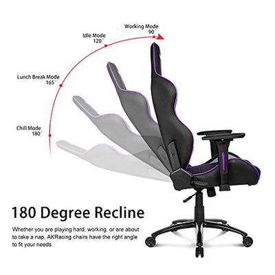 AKRacing Core Series LX Gaming Chair with High Backrest, Recliner, Swivel, Tilt, Rocker and Seat Height Adjustment Mechanisms with 5/10 Warranty-Indigo