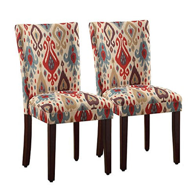 Kinfine  Parsons Deluxe Multi-Color Ikat Dining Chair, Sienna (Set of 2)