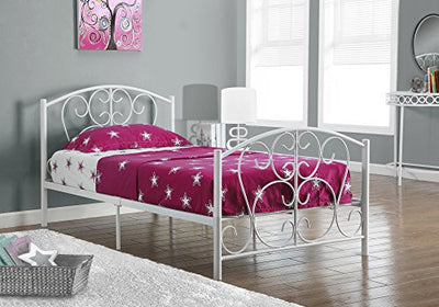 Monarch Specialties I 2390W White Metal Twin Size Bed Frame Only, 37""