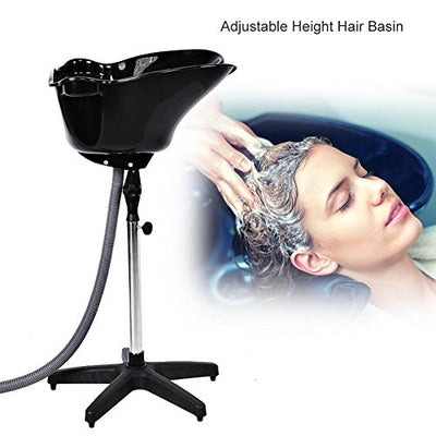 Shampoo Bowl, Hair Salon Barber Basin Beauty Tools Adjustable Height Sink with Drain Plastic Black