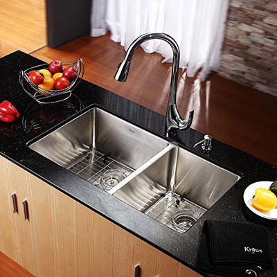 Kraus KHU103-33 33 inch Undermount 60/40 Double Bowl 16 gauge Stainless Steel Kitchen Sink