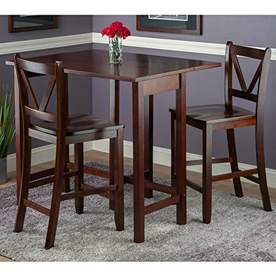 Winsome Wood Lynnwood 3-Piece Drop Leaf Table with 2 Counter V-Back Stools