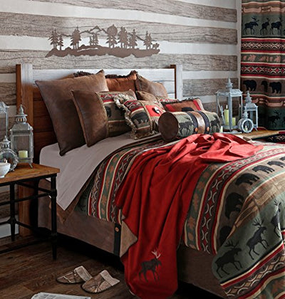 Rustic Western Southwestern Outdoors Cabin Inspired Comforter Set 5PC Backwoods (Queen) R4L6124-5