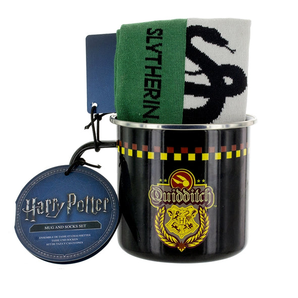 Harry Potter Slytherin Quidditch Tin Mug and Sock Set - Accio This