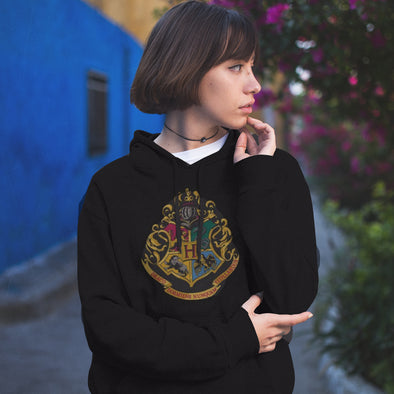 Harry Potter Hogwarts House Crest Adult Black Hoodie - Accio This