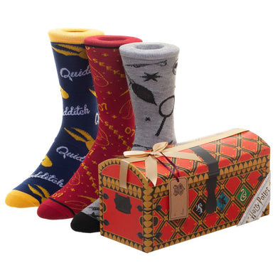 Harry Potter Harry Potter Quidditch Trunk 3 Pack Crew Socks - Accio This