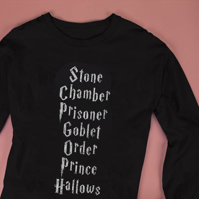 Harry Potter Film Titles Adult Long Sleeve Black T-Shirt - Accio This