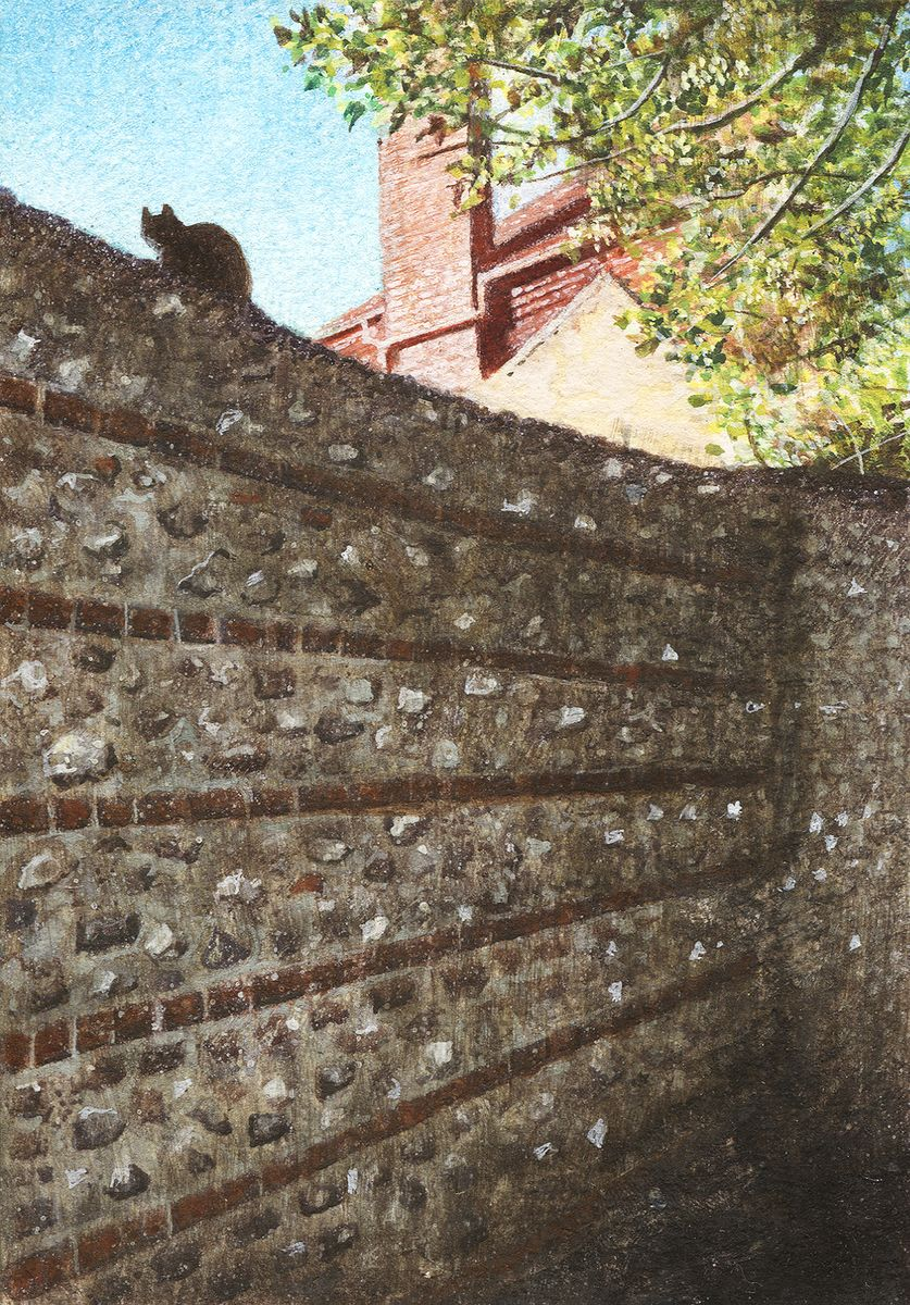 Peter Messer - Flint Wall and Cat