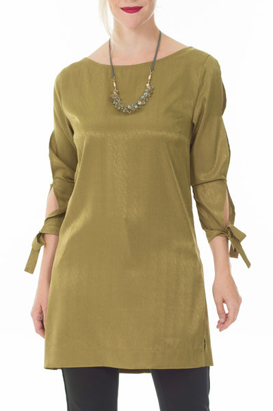 Hanne open sleeve dress - Khaki green