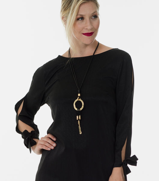Hanne open sleeve blouse - Black