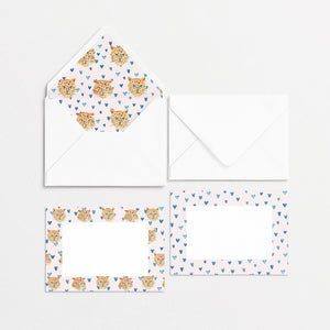 Tiger King Cards & Envelopes - Pink Hearts