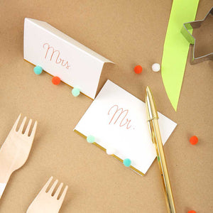 Pompom Place Cards with Gold Detail