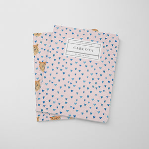 Tiger King Notebook - Pink Hearts Blue