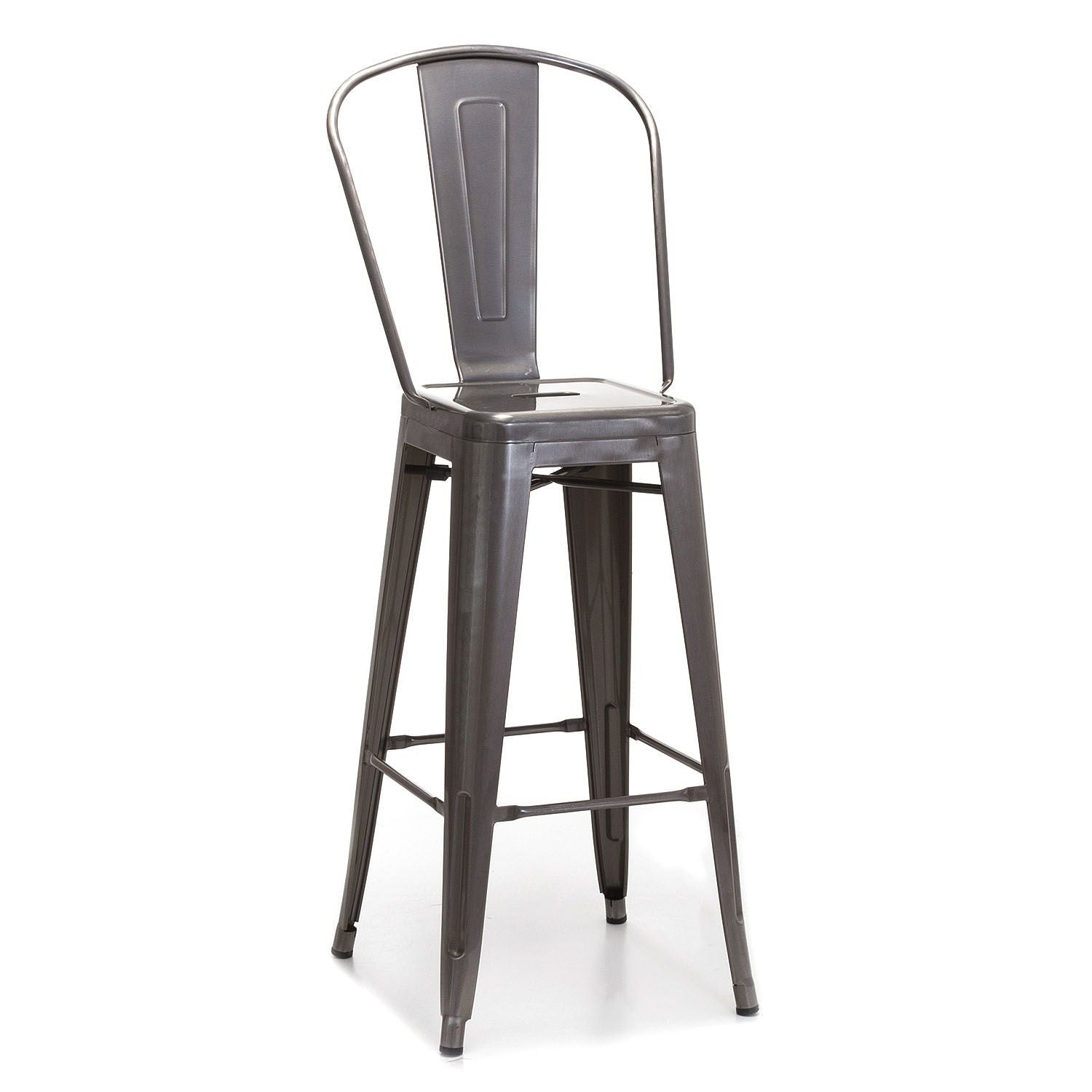 Snug industrial tolix style galvanised metal dining or kitchen bar stools tall chairs with backs