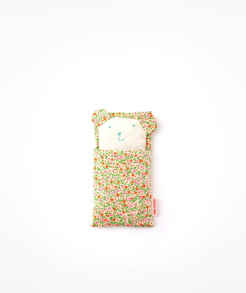 Doudou ourson Flower Power rose Petit Pan