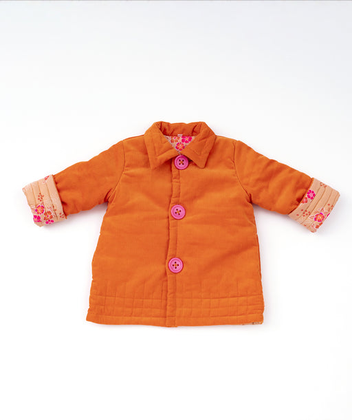 Manteau enfant Velours orange Folksy Petit Pan