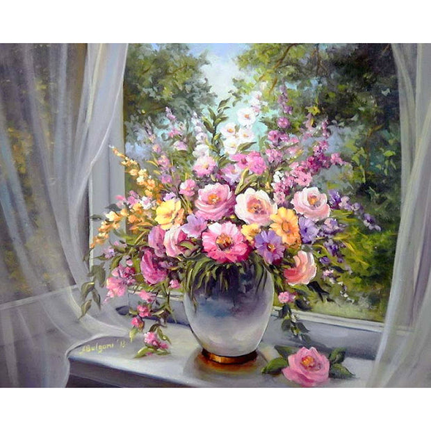5d Diamond Painting Blumen Auf Fensterbank Diamondpainting5d