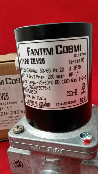 Zev25 1'' BSP (28mm) Automatic Reset Normally Closed Gas Solenoid Valve 230v