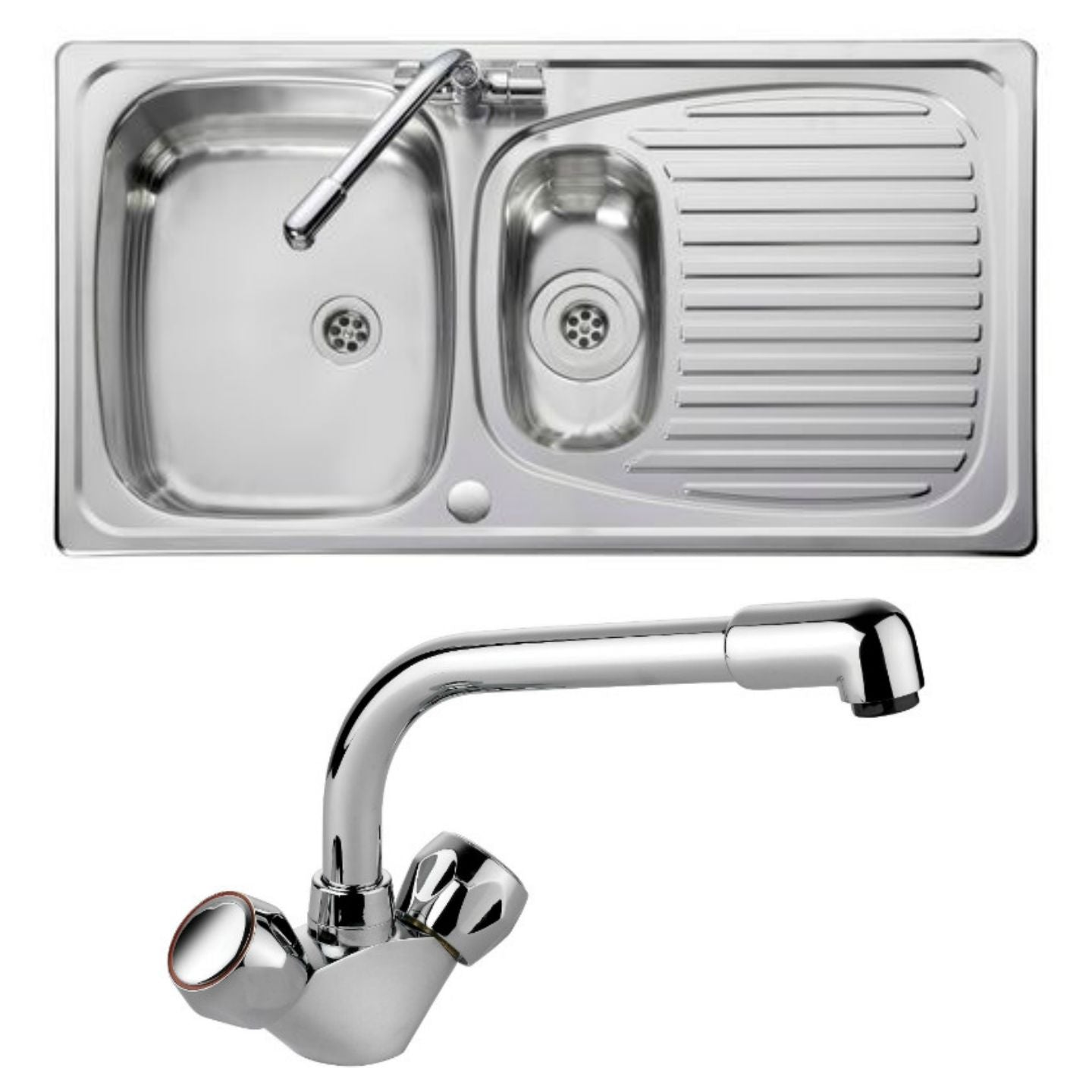 Leisure Sinks Euroline EL9502/TC sink and tap 1.5 bowl Stainless Steel