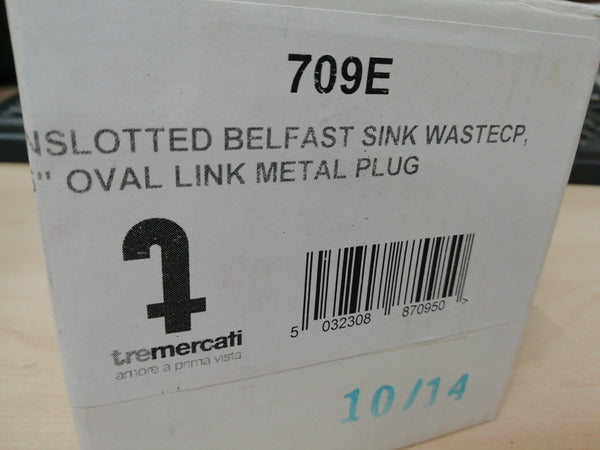"Tre Mercati 709E 1 1/2"" Chrome Unslotted Belfast Sink Waste With Chrome Plug & Oval Link Chain"