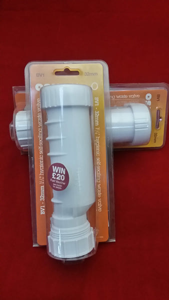 2 x Hepvo Self Seal Waste Valve White 32mm