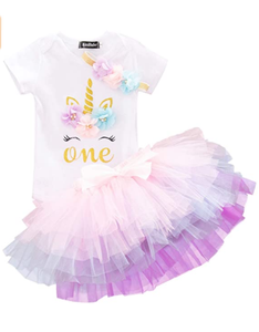 Unicorn 1st Birthday Outfit Girls