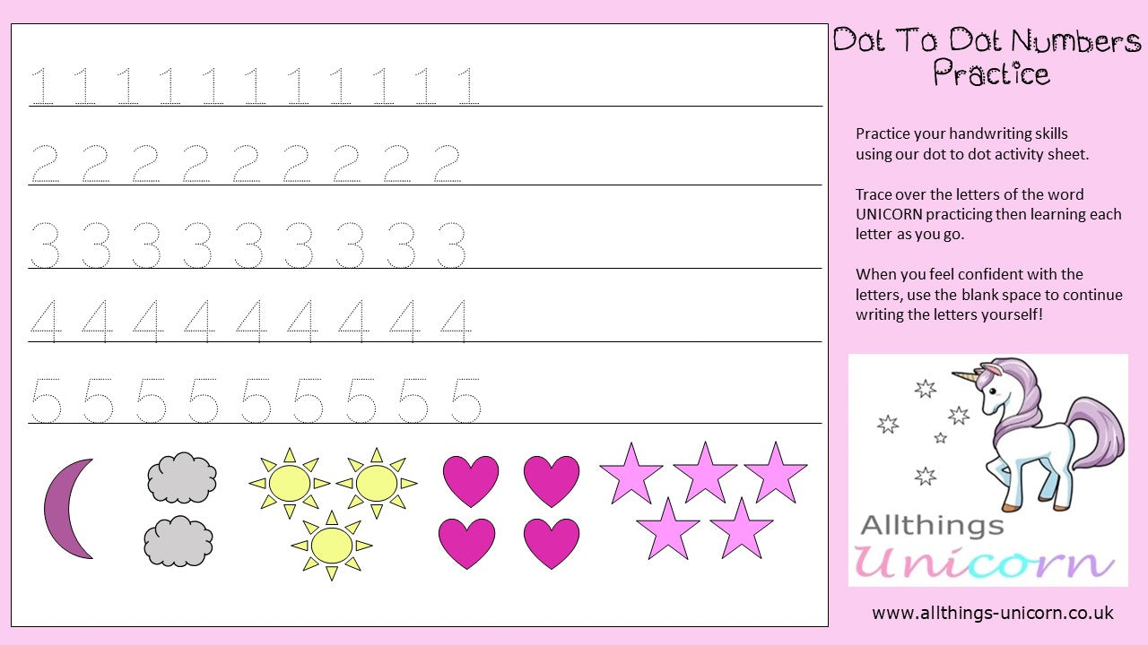 Unicorn Numbers Dot To Dot Practice