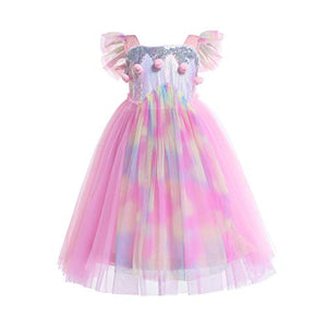 Girls Unicorn Dress | Costumes Birthday Party | Girl Tulle Dress Sequined Rainbow