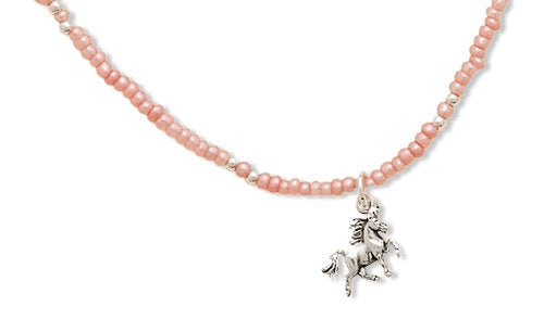 "13""+2""Extension Pink Seed Necklace with Unicorn Charm 925 Sterling Silver"